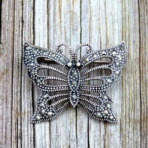 Vintage 925 Marcasite Butterfly Pin Brooch